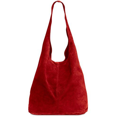 Caspar TL767 großer Damen Leder Shopper, Farbe:rot, Größe:One Size -