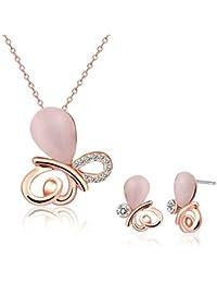 Adisaer Damas Conjunto Joyería Aleación de Metal Collar Pendientes Oro Rosa Gota de Agua Ópalo Mariposa Joyería Rosa Para Mujeres Regalo