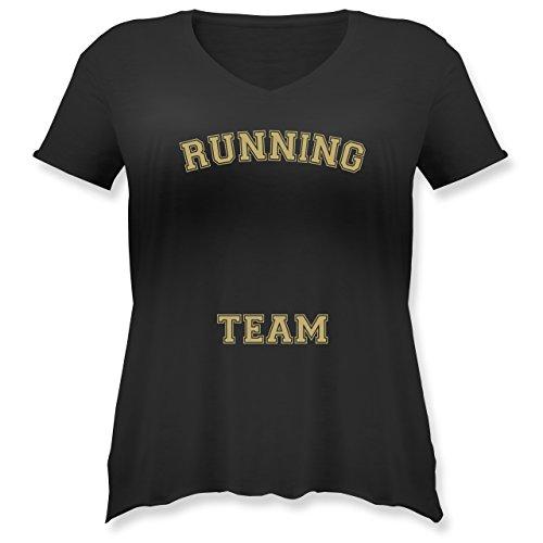 Laufsport - Running Team - Weit geschnittenes Damen Shirt in großen Größen mit V-Ausschnitt Schwarz