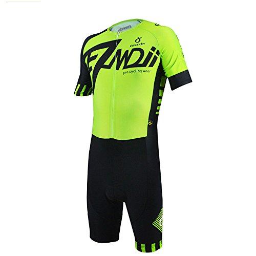 EMONDER Herren-Triathlon-Anzug Kurz Ärmel Skinsuit Tri Suit Radfahren Skinsuit Atmungsaktiv Quick Dry Team Bike Swim Runing Kleidung, Grün, X-Large