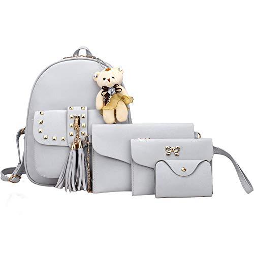 VJGOAL Damen Rucksack, 1 Sätze Frauen Mädchen Mode Rucksack Handtasche Schultertasche Schuleinkaufstasche Crossbody Frau Geschenke (4PCS, T-Grau)