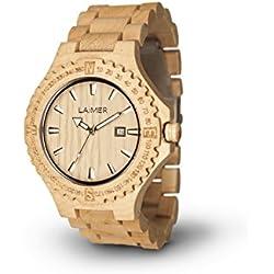 LAiMER Holzuhr Modell 0011 | 100% Ahornholz | Naturprodukt | Südtirol | federleicht | allergikerfreundlich | nachhaltig | angenehmer Tragekomfort |
