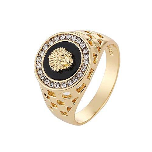 FOONEE Ring für Herren, Löwenkopf, 18 K Hip-Hop-vergoldet, Zinklegierung, Größe 7–12 (Size 10, Lion)