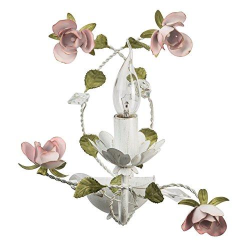 MW-Light 421022801 Florentiner Kerzen Wandlampe Weiß Metall Grün Keramik Blumen Blätter mit Kristall 1 Flammig E14 x 40W