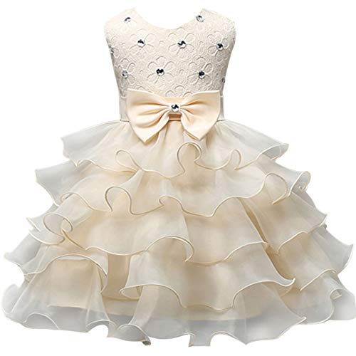 Milkiwai Kid Infant Girl Bowknot Perlen Prinzessin Kleid Tiered Sleeveless Party Tutu (Color : Yellow, Size : 140)