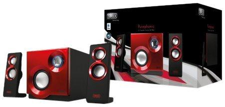 Sweex SP211 Purephonic 2.1 Lautsprechersystem (60 Watt) rot