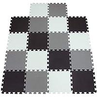 qqpp Puzzles de Suelo,Alfombra Puzzle de 18 Piezas | Negro Blanco Gris (30