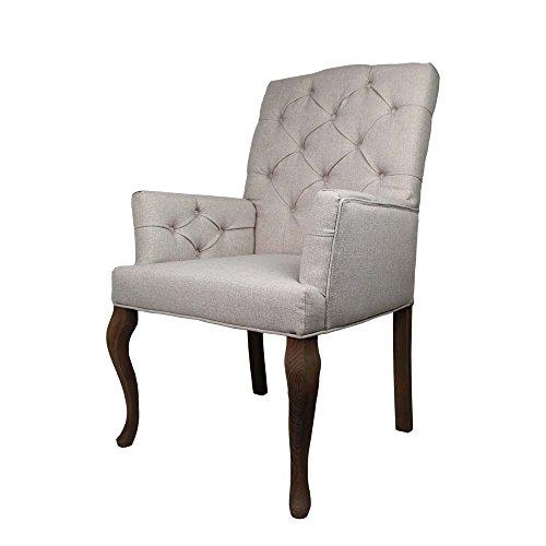Esszimmerstuhl mit Armlehen Creme Weiß Webstoff Pharao24