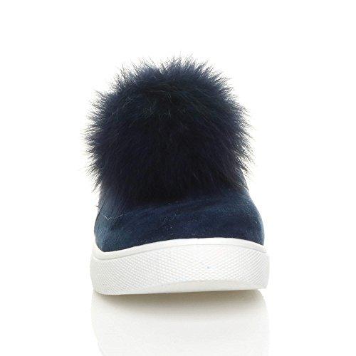 Damen Flach Pom Pom Pelz Plimsolls Mode Trend Sneaker Turnschuhe Größe Dunkelblau