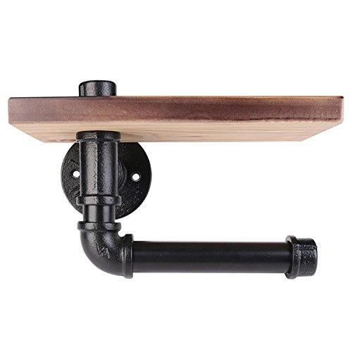 Duzzy Industrie Eisen Rohr WC-Papierrollenhalter mit Holz Regal Wand montiert für Badezimmer