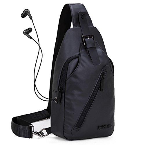 WindTook Herren Schultertaschen Brusttasche Umhängetasche Daypack mit Kopfhörer (Schwarz) (Sling-schulter-beutel Messenger Bag,)