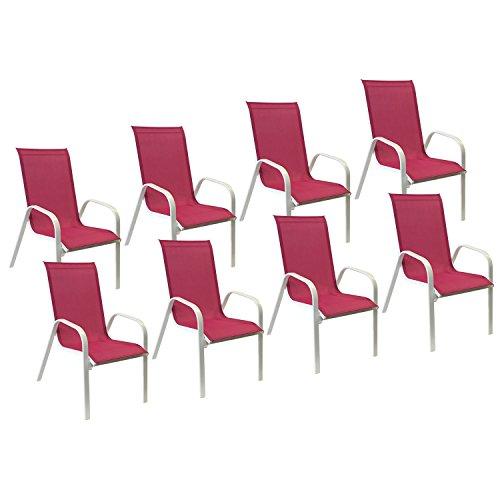 Happy Garden Lot de 8 chaises Marbella en textilène Rose - Aluminium Blanc