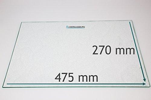 Kühlschrank Einlegeboden/Glasplatte / Gemüsefach – Strukturglas 4 mm dick – 475 mm x 270 mm - Direkt vom Glasereifachbetrieb!!!