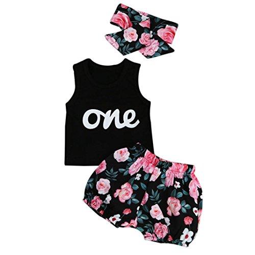 Familizo Tenues de Mode Bébé Fille, 3PCS T-shirt Sans Manches + Impression de Pantalons Floraux + Bandeau (6-12Mois, Noir)