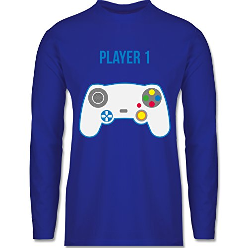 Shirtracer Partner-Look Familie Papa - Player 1 - Herren Langarmshirt Royalblau