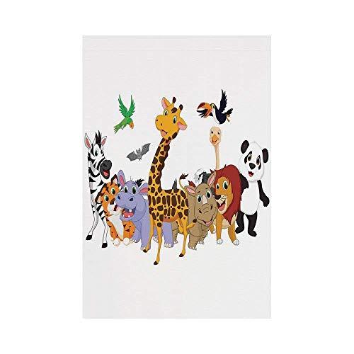 y Manual Custom Garden Flag Demonstration Flag Game Flag,Kids,Colorful Jungle Animals Hippo Bat Parrot Giraffe Zebra Rhino Panda African Safari Themed Decorations Decorative, d¨¦c ()