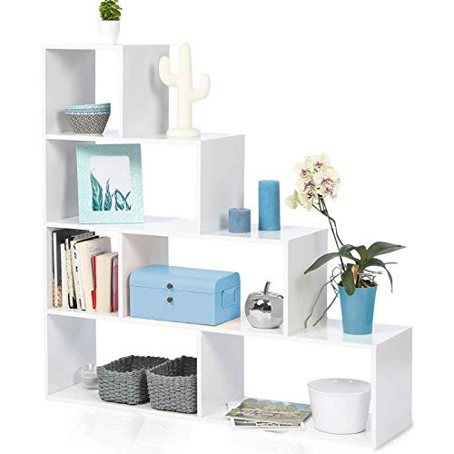 IDMarket - Bibliothèque escalier Lina bois blanc