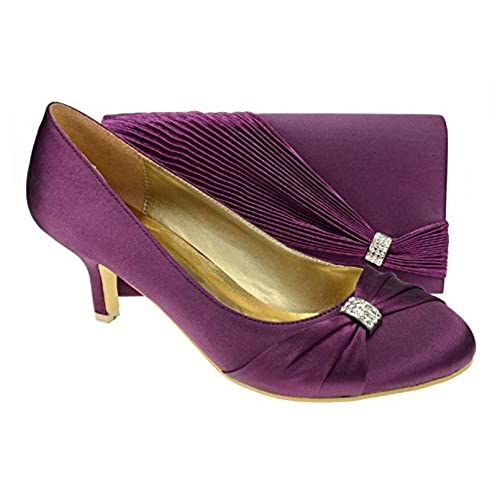 Chic Feet Womens Purple Party Wedding Prom Evening Shoes  Matching Bag   UK 7