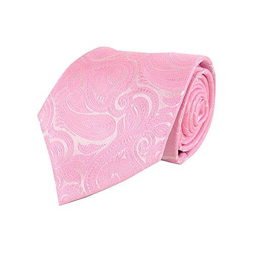 Laurent Bennet Herren Krawatte aus Mikrofaser mit Paisleymuster, Jaquard gewebt, Pink Paisley Cummerbund