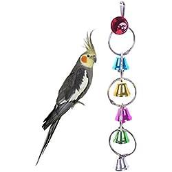 UKCOCO Juguetes para Pájaros Juguetes de Aves de Mascota Escalada Columpio Juguetes de Loro con Campanilla