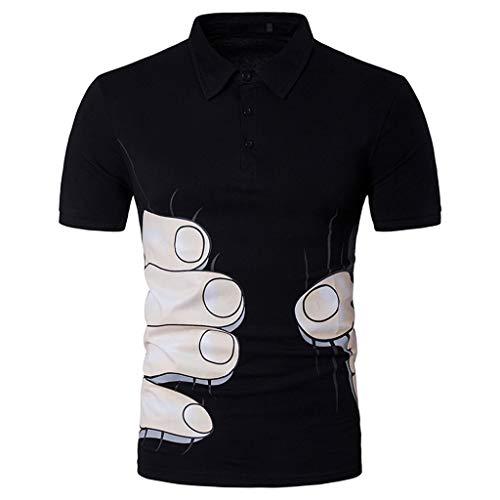 rm Poloshirt Polohemd Shirts Mit Kariert Polokragen Poloshirts Basic Sommer T-Shirt Bluse Casual V-Kragen Oberteile Solid Button Tops Tank Top(Schwarz J,XL) ()