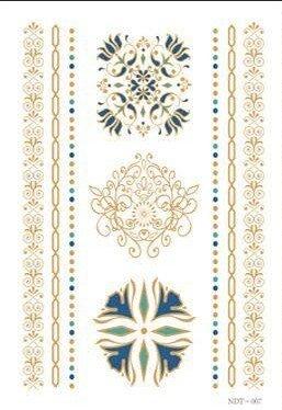 Mandala Tatouages Temporaires Métalliques tatouages flash bijoux de peau n007