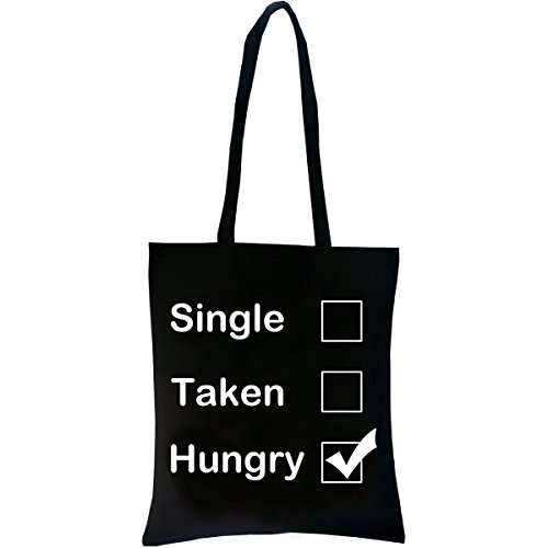 PREMYO Jutebeutel bedruckt - Stoffbeutel mit Aufdruck - Stofftasche mit Spruch: Single Taken Hungry. Baumwolltasche Schwarz witzig. Einkaufstasche mit langen Henkeln. Tragetasche ideal fürs Shopping