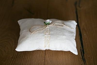 Anneau porteur oreiller, coussin d'alliances, toile de jute porteur de l'anneau, porteur oreiller anneau rustique, porteur de l'anneau rustique 15/12 cm.