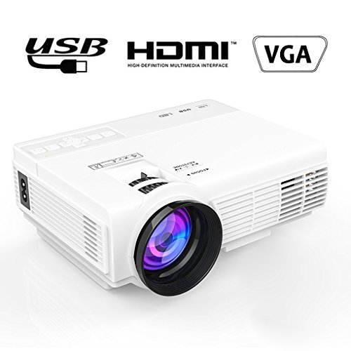 Maxesla Video Projektor, MAXESLA 1080P HD 1500 Lumen LCD Mini Beamer Unterstützung HDMI USB VGA AV TF Häfen Multimedia Heimkino Home für zu Hause, Party Unterhaltung
