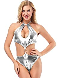 218d7f01cf IWEMEK Women Metallic Bodysuit Cut Out Shiny Thong Jumpsuit Latex Leather  Wet Look Lingerie PU Clubwear One Piece Swimsuit High Cut…