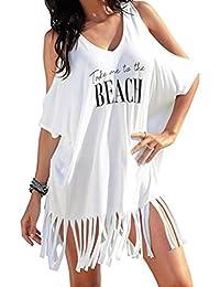 LuckyGirls ❤ Mujer Sexy Vestido de Fiesta Manga Corta Hombros Descubiertos  Flecos Casual Vestido de Noche Playa Falda Blusa de Playa Traje… d7cebfc3aca87