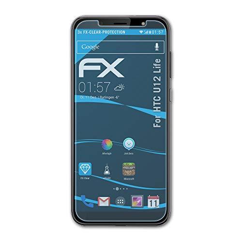 atFolix Schutzfolie kompatibel mit HTC U12 Life Folie, ultraklare FX Bildschirmschutzfolie (3X)