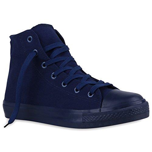 Herren Schuhe Sneakers   Sneaker High Denim   Turnschuhe Camouflage   Stoffschuhe Schnürer Dunkelblau Navy