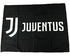 Idea Regalo - Bandiera Juventus Nera Nuovo Logo 100% Poliestere