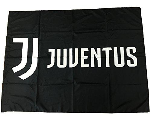 Bandiera Juventus Nera Nuovo Logo 100% Poliestere