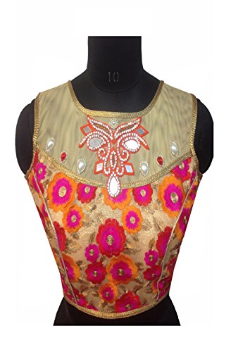 Designer Ready Made Blouse With Pearl, Diamond & Embroidery Work Black Color (pink) (pink)