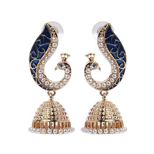 Ellepigy indische Bollywood Kundan Peacock Jhumka Jhumki Tropfen Ohrringe Zigeuner Schmuck
