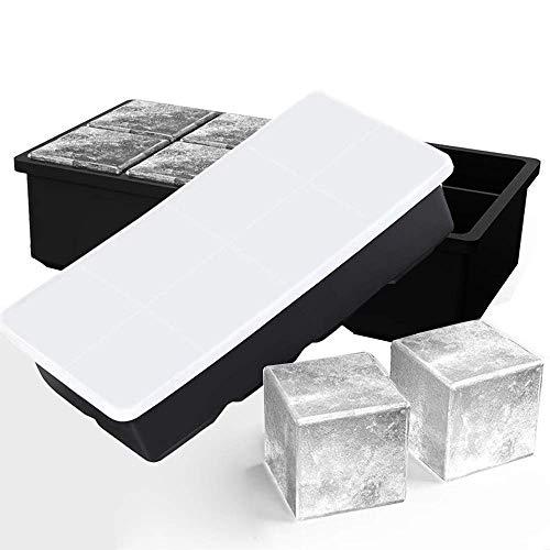 GoZheec Eiswürfelform mit Deckel, 2 Stück Eiswürfelschalen 8 Fach Silikon Eiswürfelbehälter LFGB Zertifiziert BPA Frei 5cm Eiswürfel Form für Bier, Whisky, Pudding oder Babynahrung (Schwarz)