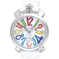 GaGa Milano Herren-Armbanduhr 48mm Armband Leder Weiß Gehäuse Edelstahl Saphirglas Handaufzug 5010.01S