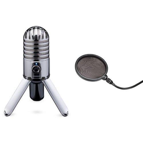 B Studio/Podcast Mikrofon silber + Samson PS 01 professioneller Pop Filter - Popschutz - Popfilter - für Studiomikrofone Bundle (Usb-kabel Für Samson Mikrofon)