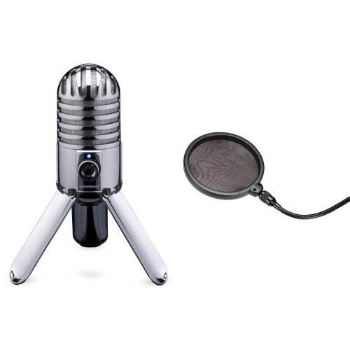 B Studio/Podcast Mikrofon silber + Samson PS 01 professioneller Pop Filter - Popschutz - Popfilter - für Studiomikrofone Bundle ()