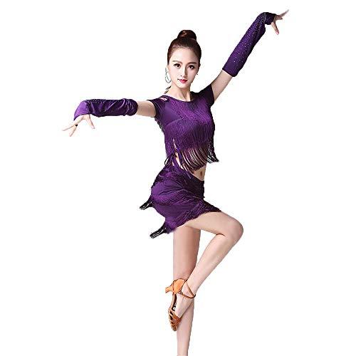 Frauen tanzen Kleid Frauen Quaste Latin Dance Kleid Outfit Kurzarm kalte Schulter Top mit Dance Rock Tango Rumba Ballsaal Leistung Dancewear Wettbewerb Kostüme Tanz Cocktailkleid (Tanz Kostüm Für Den Wettbewerb Zum Verkauf)