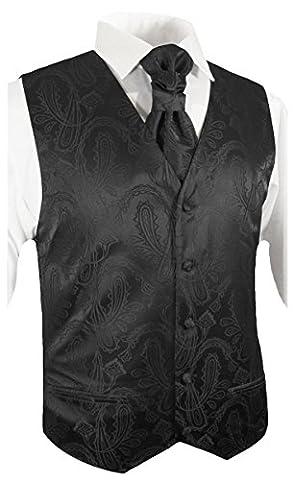 Paul Malone wedding waistcoat Set Black 5pcs tuxedo vest + Neck Tie + Plastron + Hanky + 2 cufflinks size 3XL
