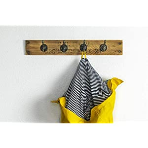 Garderobe/Handtuchhalter Obstkiste Holz Altholz Vintage Upcycling Handmade mit 4 Haken in bronze oder weiß, Landhausstil, individuell