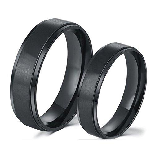 Blisfille Ring Schwarz Damen Partnerringe Mit Gravur Hochzeit Ringe Eheringe Verlobungsringe Hochglanzpoliert Breite 8/6mm Rund Schwarz Ringe Für Herren Gr.60 (19.1) & Herren Gr.49 (15.6)