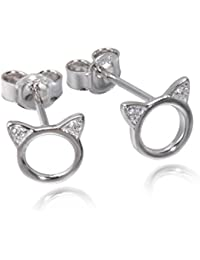 1afb153f60d3 Meow Star Cat pendientes de plata de ley Círculo Pendientes CZ pendientes  de gato