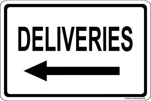 Larry Sageasd Blechschild mit englischsprachiger Aufschrift Deliveries Left Arrow Maltesisches Wandschild aus Eisen, Vintage-Stil, Metall, für Bar, Garage, Café, Zuhause
