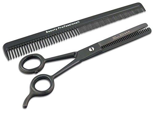 Beauty Haarpflege-Set Modellierschere Effilierschere 1-Seitig 13,97 cm Schwarz Ausdünn-Haarschere 2-Teilig