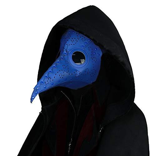 Gothic Herren Damen Mode PU Leder Felsen Maske, Halloween Cosplay Cocktails Party Lange Nase Masken, Punk Mittelalter Retro Staubdicht Masquerade Maske (Blau)