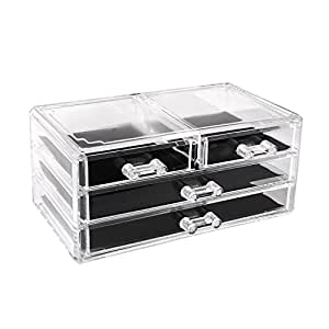 homfa elegant make up aufbewahrung kosmetik organizer kosmetik aufbewahrung mit 4 schubladen. Black Bedroom Furniture Sets. Home Design Ideas